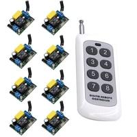 AC 220V 1CH 10A Relay RF Wireless Remote Control Switch Wireless Light Switch 8 Buttons Remote