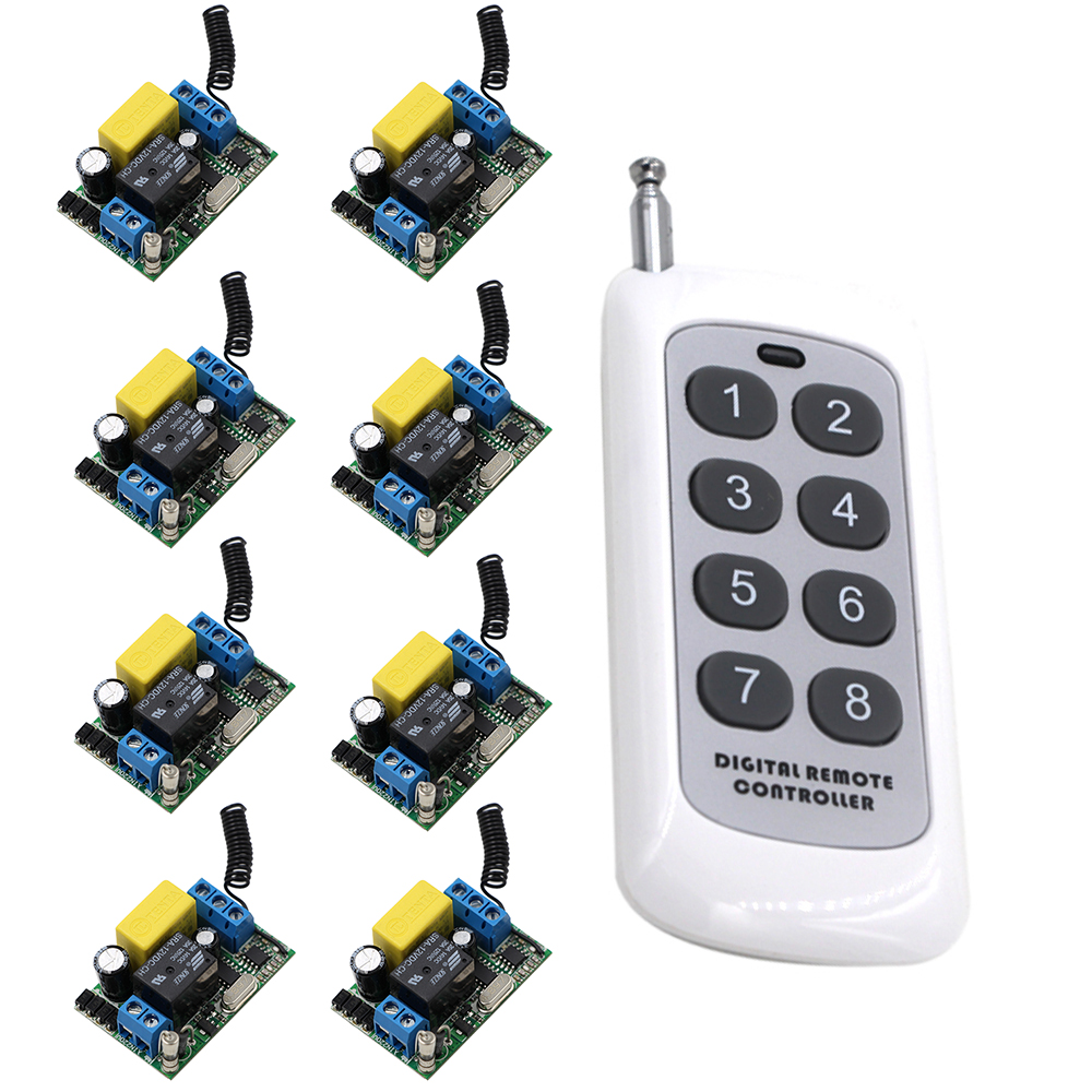 цена на AC 220V 1CH 10A Relay RF Wireless Remote Control Switch Wireless Light Switch 8 Buttons Remote Controller 315Mhz/433Mhz