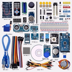 Gratis verzending Super Mega 2560 Starter Kit voor Arduino 1602LCD RFID Relais Motor Buzzer