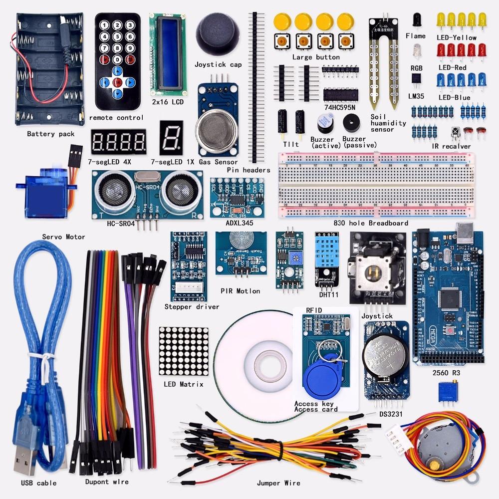 Livraison gratuite Super Mega 2560 Kit de démarrage pour Arduino 1602LCD RFID relais moteur Buzzer