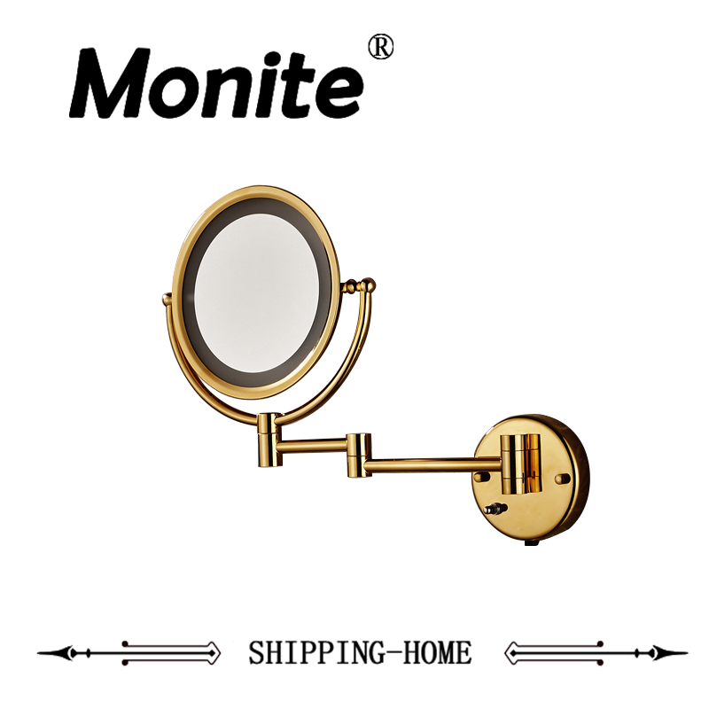 Bathroom Mirrors Luxury Golden Bath Mirrors Stainless Steel Makeup Cosmetic Mirrors Wall Mounted Mirrors