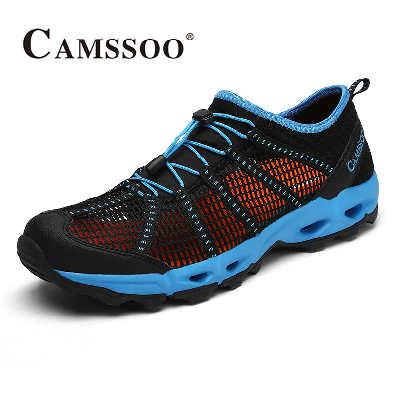 2018 Camssoo Mens Aqua Shoes Breathable Water Shoes Quick Dry Outdoor Beach Shoes Black Red Grey For Men Free Shipping 6056 topsell 2017 men women 3 casual shoes black red white solomons runs breathable shoes free shipping size 40 46 speedcros
