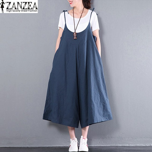 8c54775acc 2018 ZANZEA Womens Spaghetti Straps Dungaree Loose Wide Leg Jumpsuit  Playsuits Solid Long Pants Cotton Romper Overall Plus Size