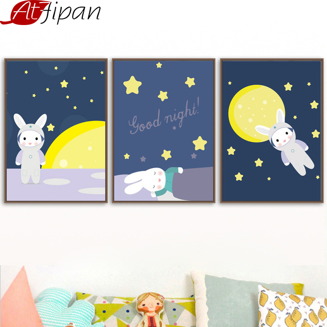 Atfipan Nordic Animal Cartoon Rabbit Moon Star Posters Ingelijst - Huisdecoratie