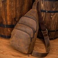 Лапо Для мужчин сумка Пояса из натуральной кожи груди мешок Мужской Англия Стиль сумка человек Crazy Horse кожа Crossbody сумка для отдыха груди паке