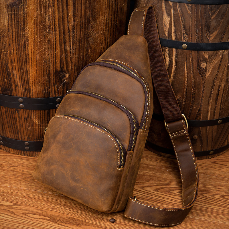 LAPO Men Bag Genuine Leather Chest Bag Male England Style Messenger Bag Man Crazy Horse Leather Crossbody Bag Leisure Chest Pack aetoo crazy horse skin chest bag male leather men leisure package retro leather messenger bag tide men bag