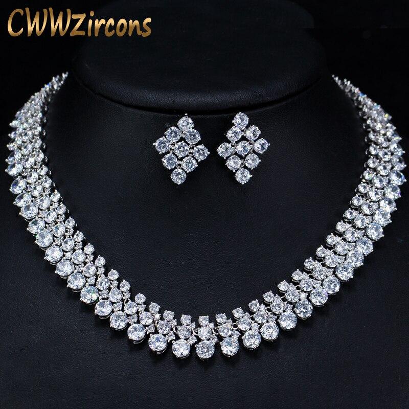 CWWZircons luxe 2018 nigérian accessoires de mariage africain CZ perles ensembles de bijoux collier de mariée en cristal pour les mariées T111