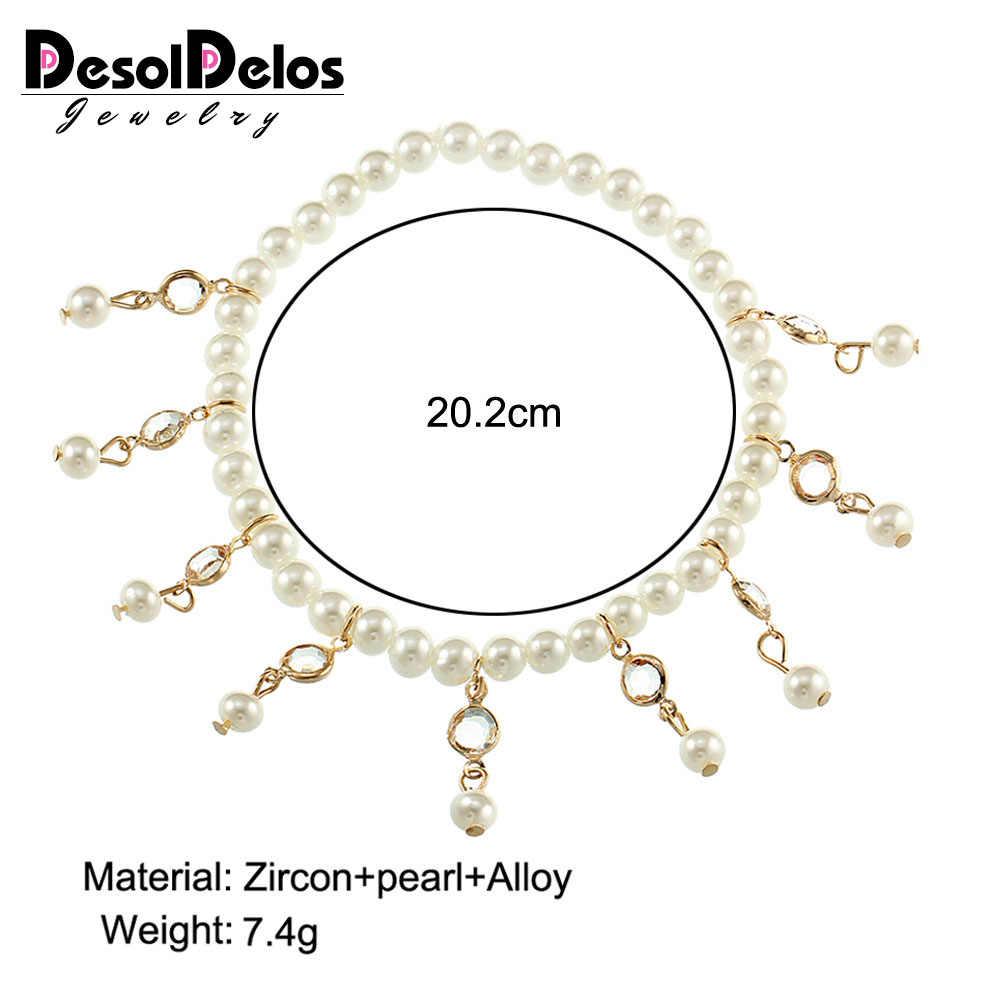 Nueva llegada de verano pulsera de cuentas en la pierna de imitación perla de moda de cristal borlas elástico Cadena de tobillo mujer Cadena de pierna