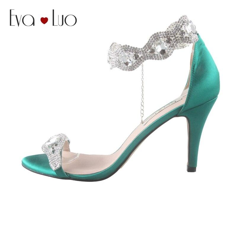 CHS712 Custom Made Emerald Green Lage Hak Kristal Bruids Schoenen Jurk  Sandalen Hoge Hakken Vrouwen Schoenen 4ad75b38f7d7