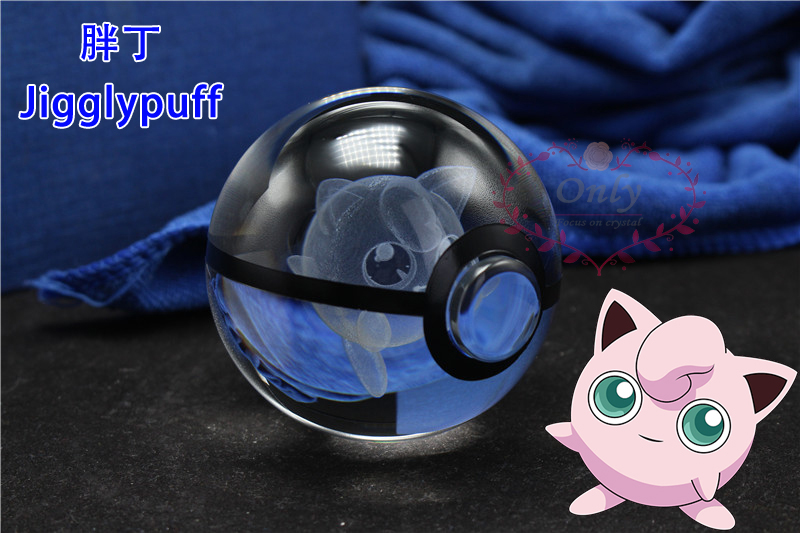 <font><b>Adoreable</b></font> Jigglypuffy 3D <font><b>Action</b></font> <font><b>Figures</b></font> Crystal <font><b>Pokemon</b></font> Go Train Ball with LED light Base For Girl's gifts