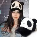 Free shipping lovely Plush baseball cap winter women's cartoon panda hat