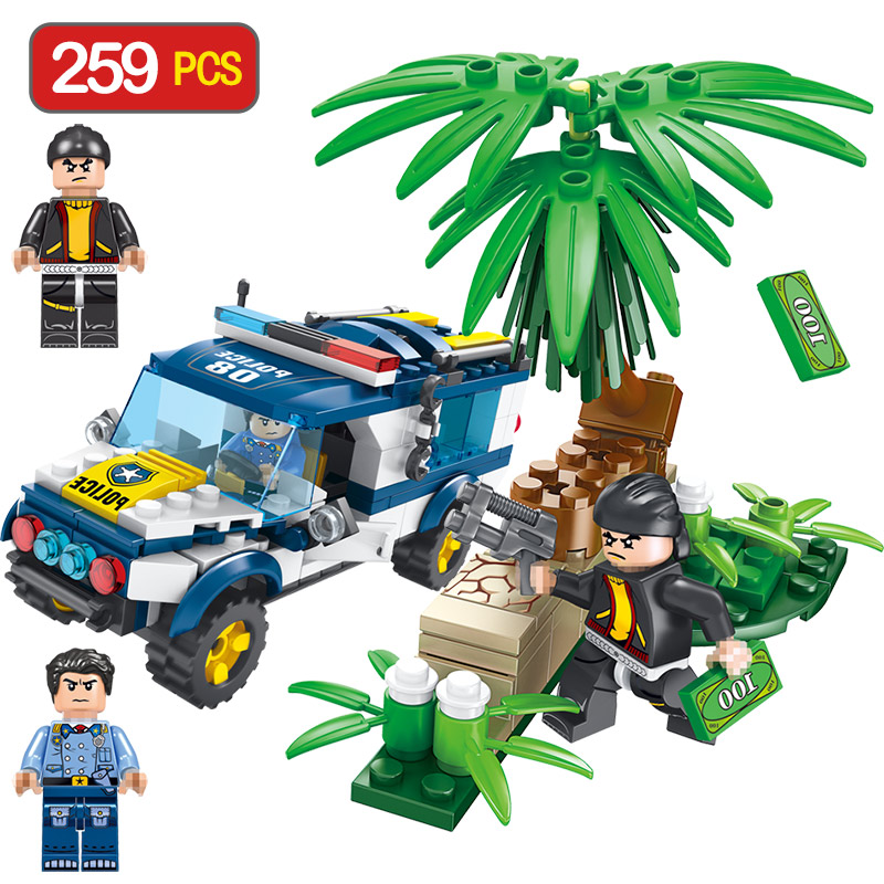 Police Hunting in The Forest Compatible LegoINGLYS City Series Enlightening Building Bricks Blocks Children Toys
