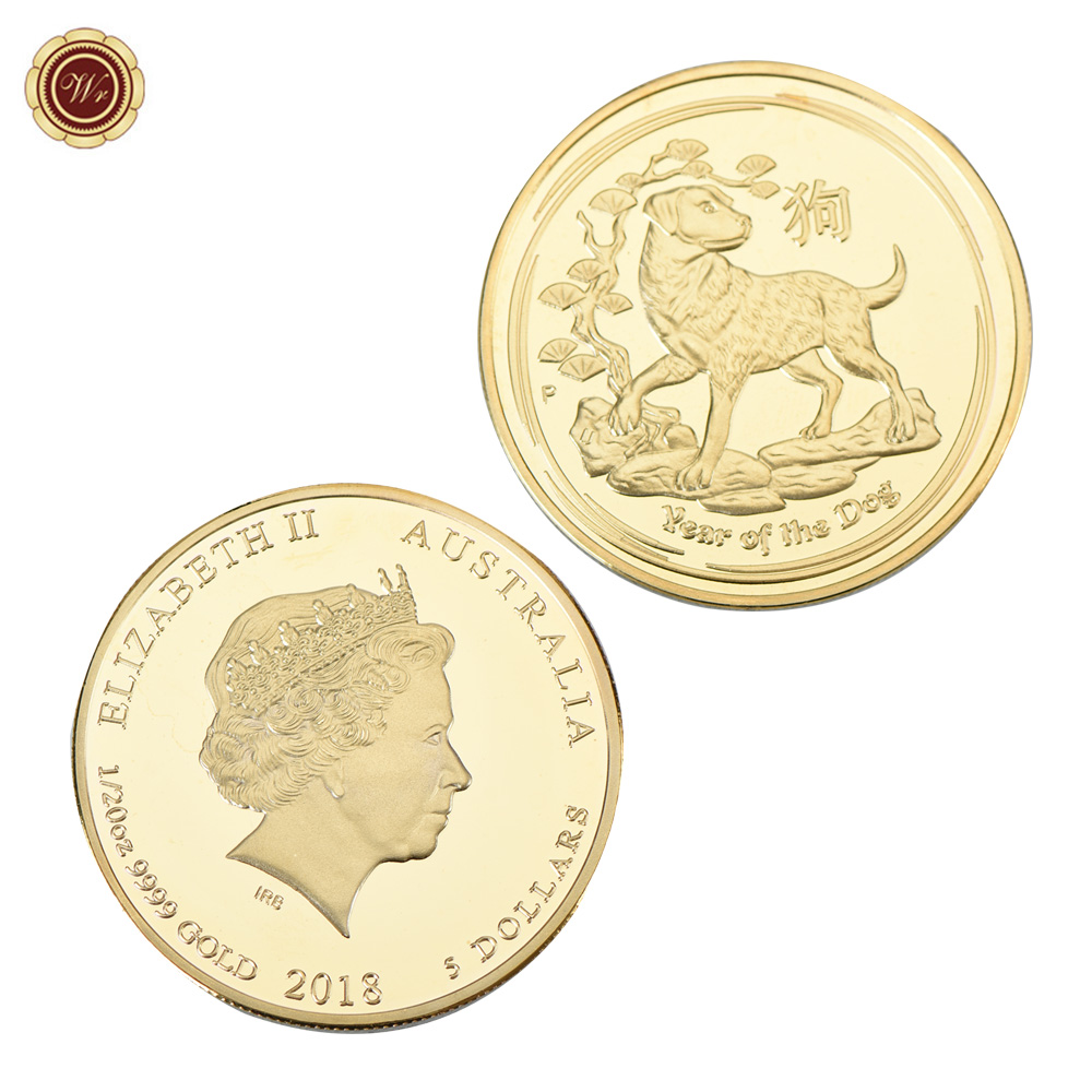 WR Australia 5 Dollars 2018 Challenge Gold Plated Coin Commemorative the Year of Dog Golden Coin for New Year Gifts