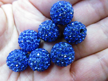 high quality 100pcs 4-16mm Micro Pave Clay Crystal rhinestone Round Ball lais blue gold clear white mixed Charm beads