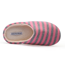 RASS PLE Striped Soft Bottom Home Slippers Cotton Warm Shoes Women Indoor Floor Slippers Non-slips Shoes For Bedroom House