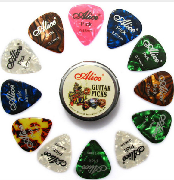 Alice Tin Celluloid Guitar Picks, 12 colorful plectrum in one cute round metal box, acoustic electric guitar strum picks