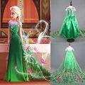 Promociones Custom Anna Elsa princesa cabritos del vestido de partido Vestidos del bebé niños Cosplay Vestidos de boda Pincess vestido largo