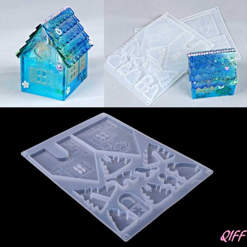 DIY Silicone Christmas House Castle Mold Epoxy Resin Jewelry Making Tool Set New