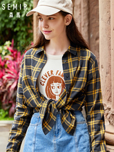 SEMIR Women Long Sleeve Shirt 2018 Autumn blouse New Retro Plaid Student Lapel Loose Thin tops woman