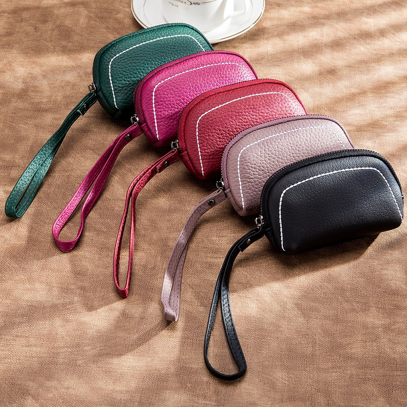 CICICUFF Genuine Leather Women Mini Wallet Leather Coin Purse Zipper Clutches Bag Credit Card Holder Coin purse With Key Ring