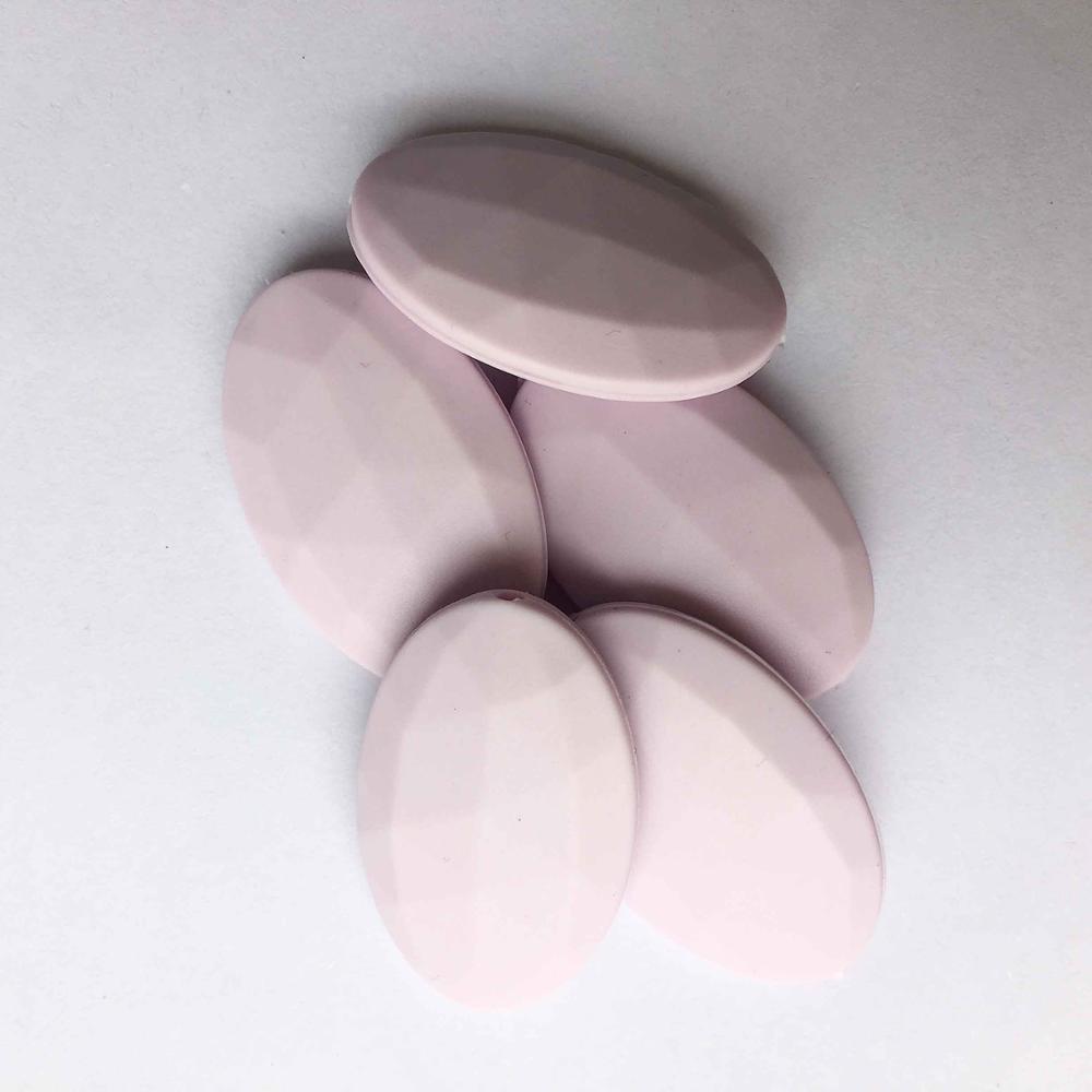 50 шт./лот плоские овальные свободные силиконовые Бусины для прорезывания зубов Цепочки и ожерелья силиконовые свободные Бусины для маленьких прорезыватель BPA бесплатно 19 цвет - Цвет: ligh purple