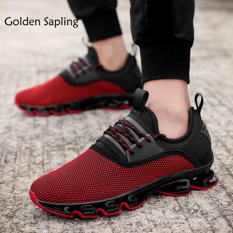 Golden Sapling Men's Sneakers Cushion Trail Running Shoes for Men Breathable Air Mesh Man Sneakers Top Rubber Mens Sport Shoes цена