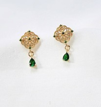 JC 2019 New Product Free Shipping S925 Sterling Silver Women Jewelry Boho Hollow out 14K Gold Plated Emerald Drop Earring цена 2017