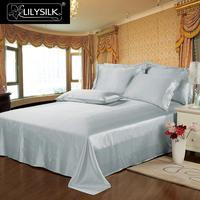 LILYSILK 3pcs 100 Mulberry Bedding Set Silk Flat Sheet Oxford Pillowcases 22 Momme Seamless Silk Sheets
