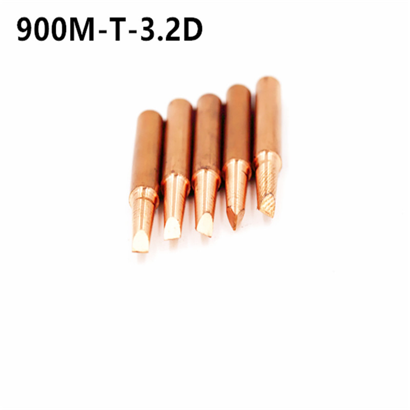 5pcs/lot 900M-T-3.2D  Diamagnetic DIY Pure Copper Soldering Tip Welding Sting For Hakko 936 FX-888D Saike 909D 852D+ 952D K B I