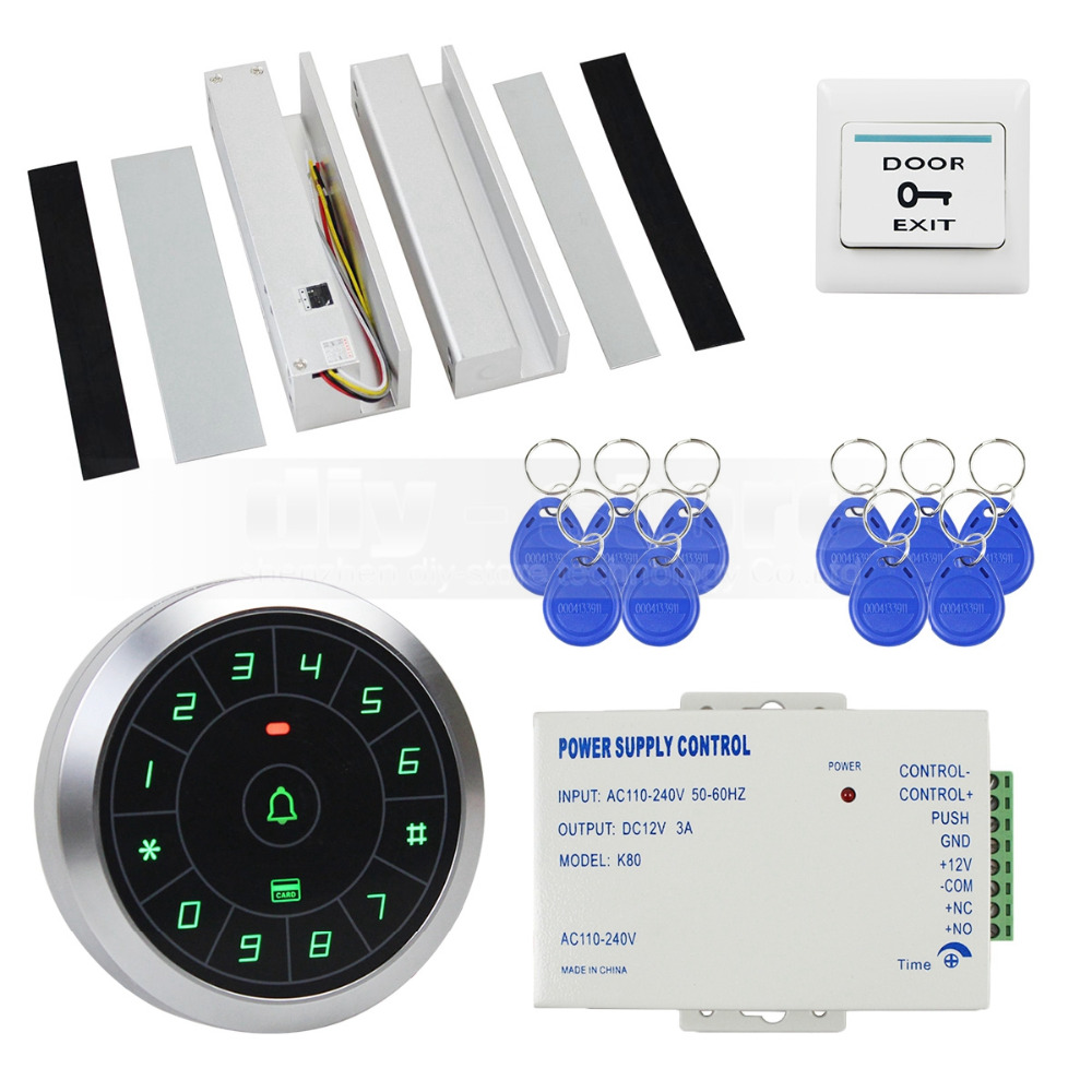 DIYSECUR Access Control System 8000 Users 125KHz RFID Reader Password Keypad + Electric Drop Bolt Lock Door Lock for Glass Door diysecur touch panel rfid reader password keypad door access control security system kit 180kg 350lb magnetic lock 8000 users