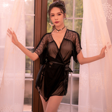 Yhotmeng sexy pajamas woman beauty back deep V breathable transparent mesh lace short nightdress robe suit