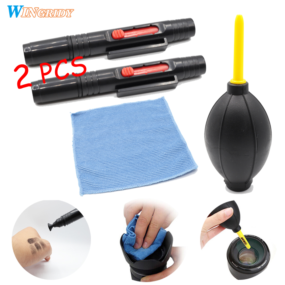 3/4in1 Camera Cleaning Kit Suit Dust Cleaner Lens Brush Air Blower Wipes Clean Cloth kit for Gopro Canon Nikon Camcorder VCR 2pcs 6 20 leds car cob drl driving fog light flexible daytime running light super bright white daylight