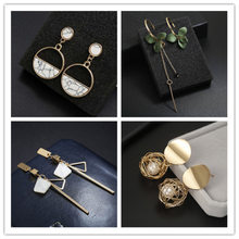 Simple personality long earrings geometric wild Korean fashion hipster jewelry wholesale(China)