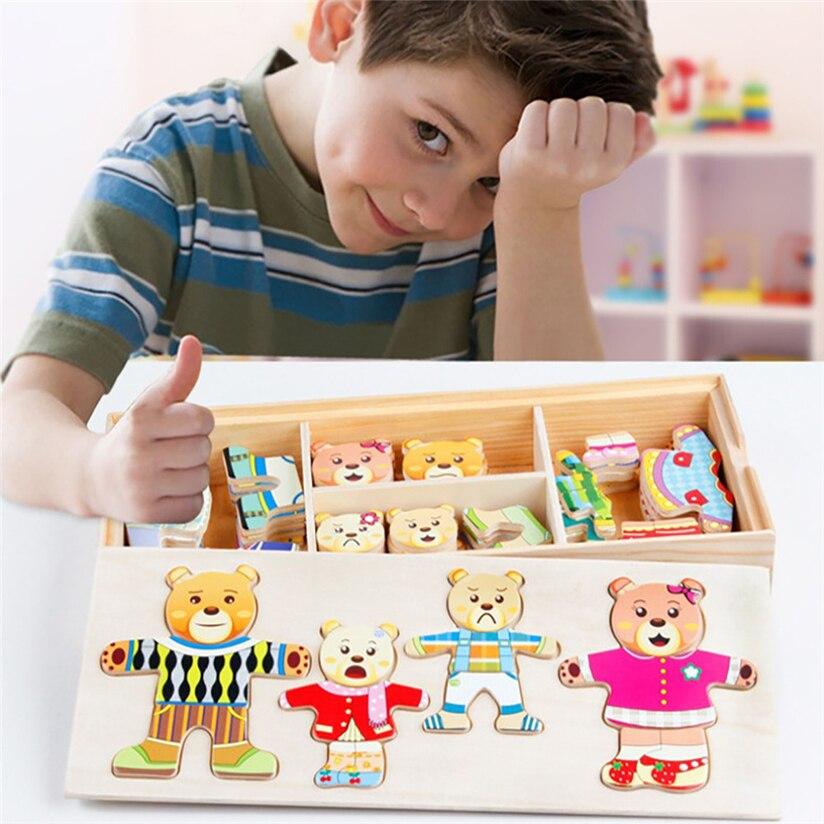 Мультфильм 4 кролика и медведя платье изменение головоломки деревянные игрушки развивающие переодеться Игрушечные лошадки #5