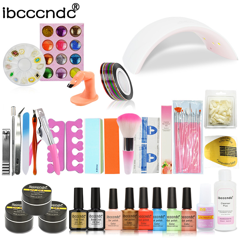 24W Led Lamp + 6 Color 10ml UV Gel Polish Base Top Coat Varnish French Tip Remover File Stickers Kit Nail Art Manicure Tools Set nail art manicure tools set uv lamp 10 bottle soak off gel nail base gel top coat polish nail art manicure sets