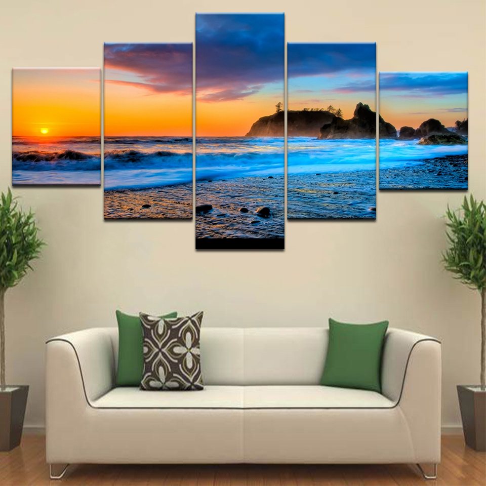 Canvas Painting Living Room Wall Art Framework 5 Piece Sunset Glow Beach Sea Waves Poster HD Prints Seascape Pictures Home Decor