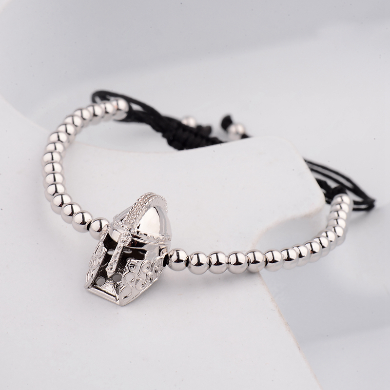 New Design Black CZ Stainless Steel Beads Braiding Buddha Bracelet Spartan Helmet Charm Bracelets For Women/Men Jewelry AB1016 6