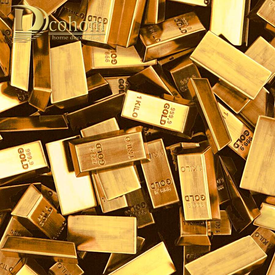Dcohom Modern Luxury 3D Gold Brick Wallpaper For Bedroom Living