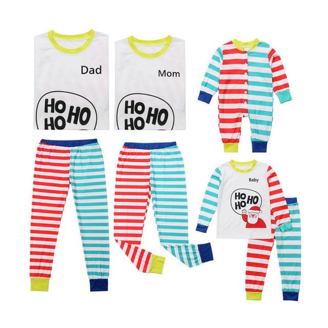 Family Matching Christmas Pajamas PJs Sets Xmas Catoon Santa Claus Sleepwear  Nightwear Tops+Pants Baby Romper Sets 0f1568cd4
