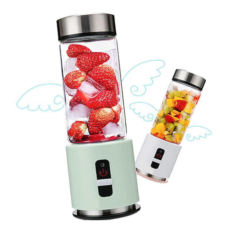 380ml Copo de Vidro Portátil de Mini Juicer Liquidificador 4000 mAh Recarregável USB Vegetal Frutas Cítricas Fabricante de Suco De Laranja Garrafa Misturador