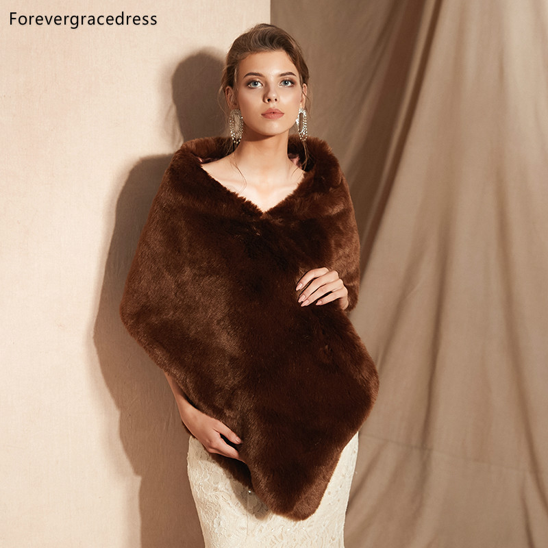 Forevergracedress 2019 Elegant Soft Autumn Winter Faux Fur Bride Wedding Wrap Bolero Jackets Bridal Coats Shawls Scarves PJ323