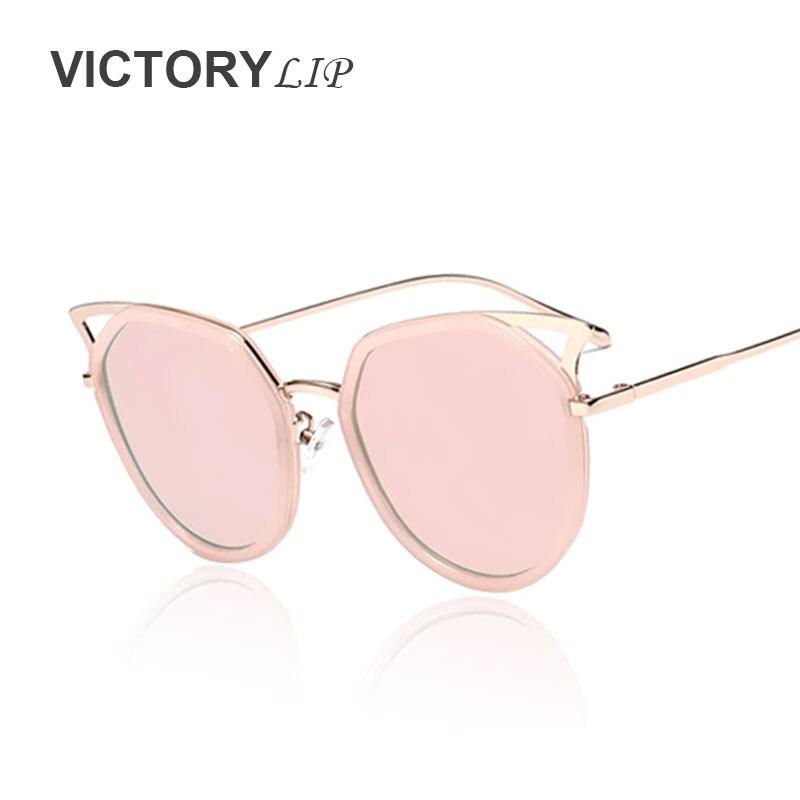 d3721f25b1c3da VictoryLip Haute Qualité Vintage 2016 Cat eye Marque Designer Cateye  lunettes de Soleil Femmes Rétro Miroir UV400 lunettes de Soleil Dame femelle