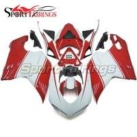 ABS мотоцикла инъекций Пластик обтекатель комплект для Ducati 1098 848 1198 07 для детей 12 лет 2007 2008 2009 2010 2011 2012 белый Красный Капот