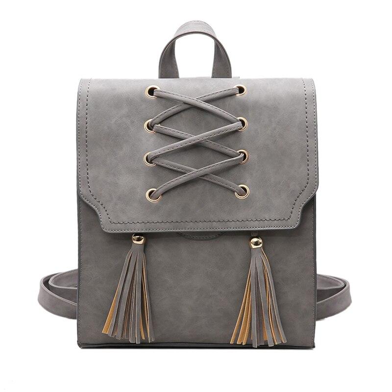 Fashion 2017 Women PU Leather Backpacks Vintage Criss Cross Tassel Bag Preppy School Backpack For Girls