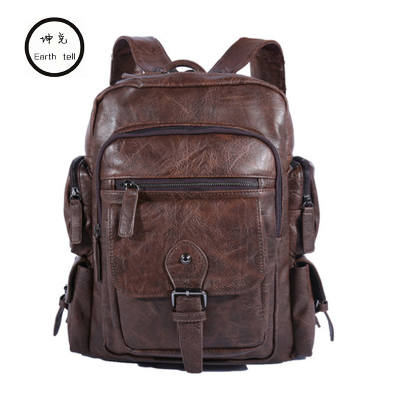 Cool Men Backpacks Man Rucksack 14 Inch Laptop Student Schoolbags Boys Travel PU Leather Backpack Bags Teens Retro School bag 14 15 15 6 inch flax linen laptop notebook backpack bags case school backpack for travel shopping climbing men women
