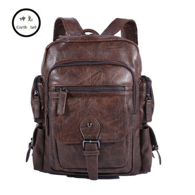 Cool Men Backpacks Man Rucksack 14 Inch Laptop Student Schoolbags Boys Travel PU Leather Backpack Bags Teens Retro School bag