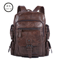 Cool Men Backpacks Man Rucksack 14 Inch Laptop Student Schoolbags Boys Travel PU Leather Backpack Bags Teens Retro School bag