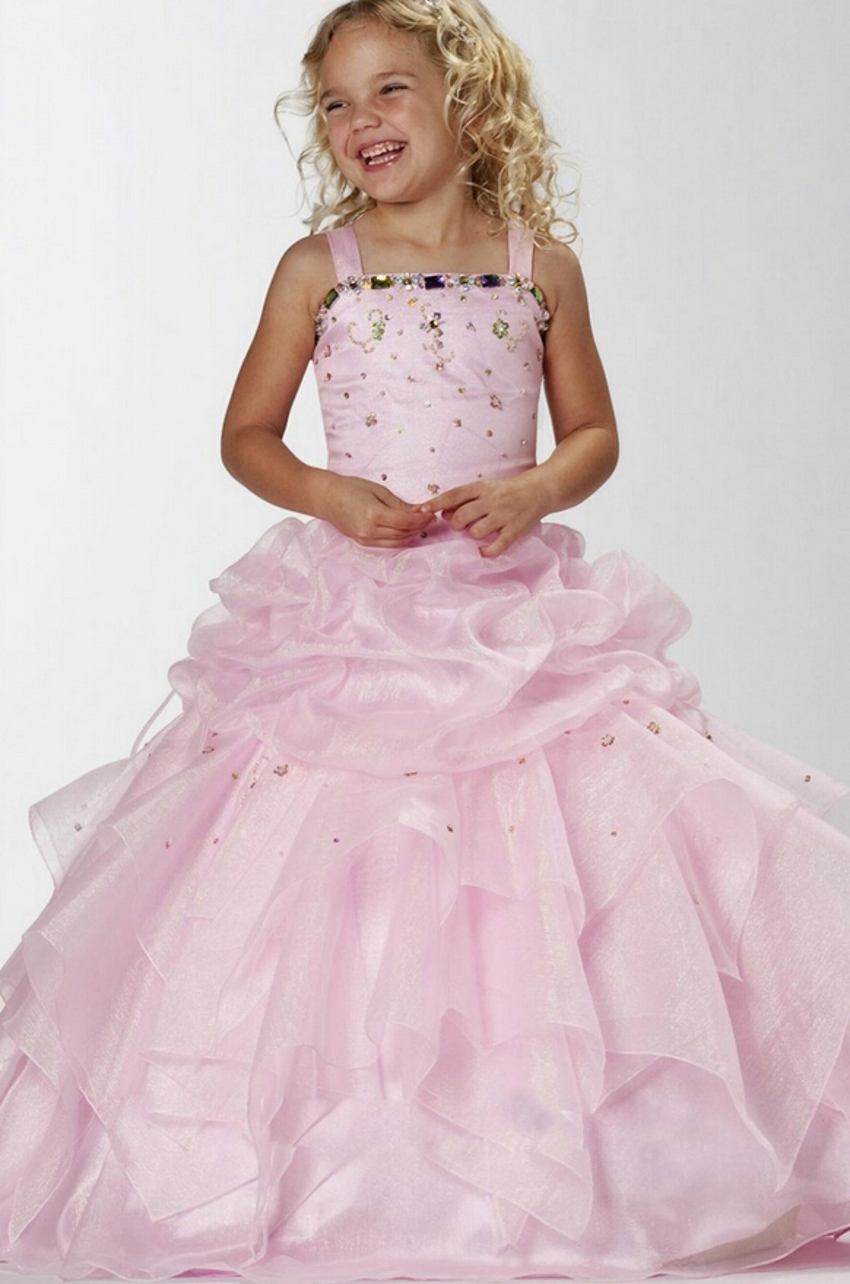 Pink Beaded Floor Length Ball Gown Glitz Girls Pageant Dresses for ...