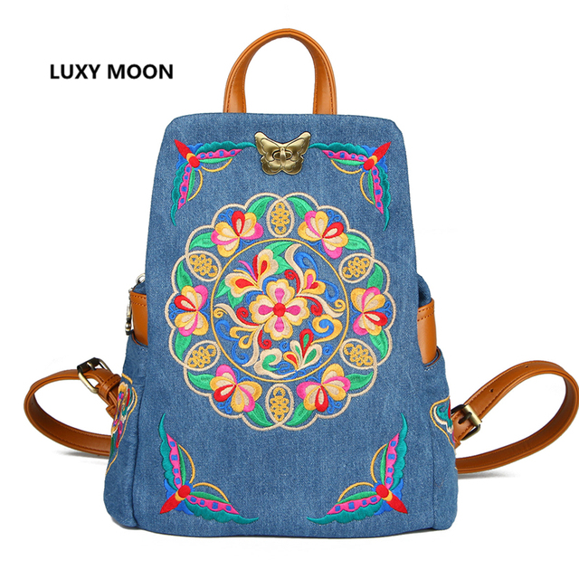 High Quality Ethnic Denim Embroidered Floral Canvas Backpacks for Women  Anti theft sac a dos Retro Jeans Travel Shoulder Mochila 83d299e1b1f