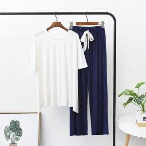 Image 2 - Yaz ve sonbahar kadın pijama konfor yumuşak Modal pijama seti yuvarlak yaka düz renk 2 adet üstleri + pantolon/şort gevşek ev tekstili